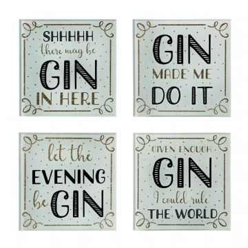 Gin Time Quotes Drinks Coasters